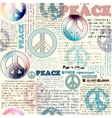 Imitation of grunge newspaper with pacific symbols vector