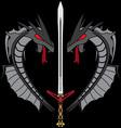 Grey dragons and sword vector