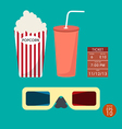 Set of cinema popcorn and ticket vector