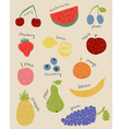 Doodle fruits in retro colors vector