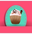 Cupcake on the pink background with cinnamon vector