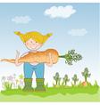 Gardener to harvest carrots vector