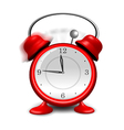 Red alarm clock close up isolated on white vector