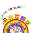 Back to school concept with cartoon train on vector