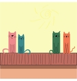 Colorful funny cats sitting on the roof vector