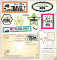 Post stamp summer holiday and travel time label vector
