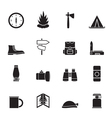 Silhouette tourism and holiday icons vector