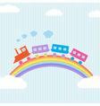 Colorful train on rainbow vector