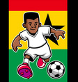 Ghana soccer player with flag background vector