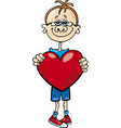 Cartoon illustration of cute boy with big heart vector