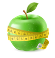 Green apple and measure tape vector