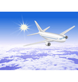 Airplane is in the sunny sky above the clouds1 vector