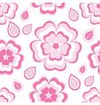 Seamless pattern with pink flowers sakura vector
