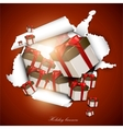 Torn paper with gift boxes holiday background vector