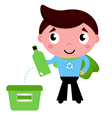 Little recycle super hero recycling garbage vector
