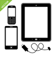 Smart phone mobile and tablet silhouette vector