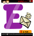 Letter e with envelope cartoon vector