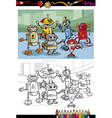 Cartoon robots group coloring page vector