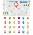 City map with pin pointers vector