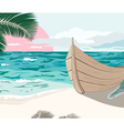 The boat is on the sea shore at summer vector