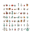 Kitchen utensils characters sketch drawing icons vector