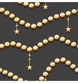 Seamless pattern with golden beads and stars vector