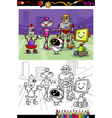 Cartoon robots group coloring book vector