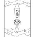 Rocket flying into space through the sky with vector