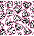 Zebra print hearts with pink outline vector