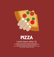 Piece of pizza in hand vector