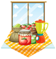 A table with foods near the window vector