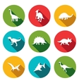 Dinosaurs flat icons set vector