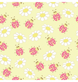 Seamless pattern with ladybugs and daisies vector