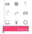 Black photo icons set vector