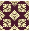 Seamless pattern in damask style with leaves vector