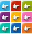 Buttons with fingers pointing vector