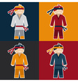 Flat sticker of karate man vector