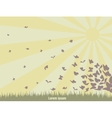 Flying butterflies on a green landscape vector
