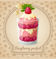 Raspberry parfait emblem vector