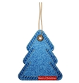 Greeting card with the christmas tree on the denim vector