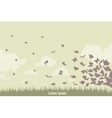 Flying butterflies on a green landscape vector