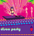 Beautiful dj girl and girls dancing at a party vector