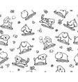 Seamless cute pattern of fun animals vector