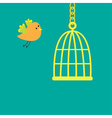 Golden birdcage cell flat design style vector