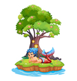 A mermaid near the treehouse vector