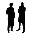 Two man in suits black silhouette on white vector