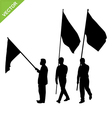 Men holding flag silhouettes vector