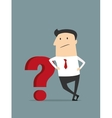 Cartoon flat businessman with red question mark vector