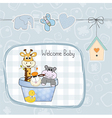 Baby boy shower card with toys vector