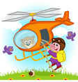 Pig parachutist on helicopter vector